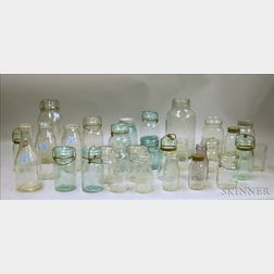Seventeen Aqua and Colorless Glass Canning Jars and Eleven Assorted Milk and Dairy   Bottles