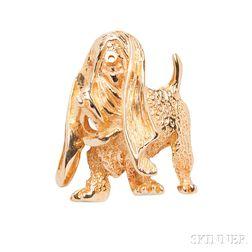14kt Gold Basset Hound Brooch