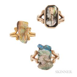 Three 14kt Gold and Carved Opal Rings