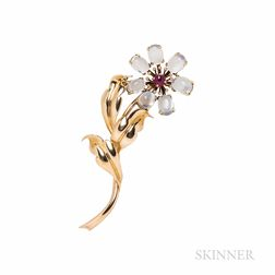 Retro 14kt Gold, Moonstone, and Ruby Flower Brooch