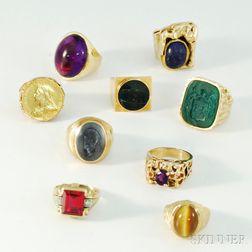 Nine Mostly 14kt Gold Men's Rings