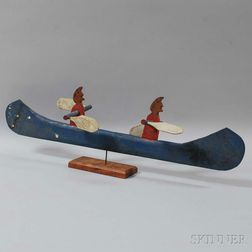 Carved and Painted Canoe Whirligig