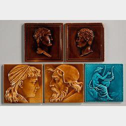Five Maw & Company Art Pottery Tiles