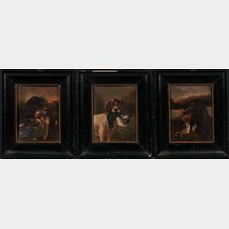American School, Early 20th Century      Three Paintings Depicting Hunting Dogs
