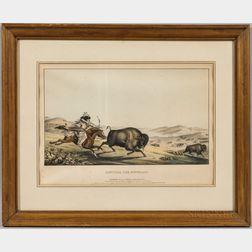 Hunting the Buffaloe   Lithograph