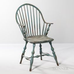 Blue-painted Continuous-arm Bow-back Windsor Chair