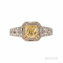 18kt Gold and Colored Diamond Solitaire