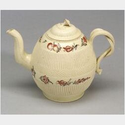 Two Staffordshire Creamware Teapots and Covers