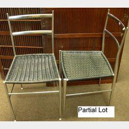 Set of Eight Gio Ponti Chrome Plated Superleggera Side Chairs with Black Woven Seats.
