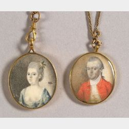 Attributed to Joseph Dunkerley (Boston, ac. 1784-1788)    Miniature Portraits of Captain John Page and Mrs. John Page.