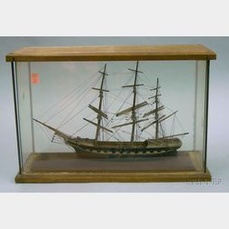 Cased Painted Wooden Model of a Three-masted Sailing Ship