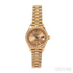 "18kt Gold ""Oyster Perpetual Datejust"" Wristwatch, Rolex"