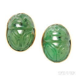 18kt Gold and Nephrite Scarab Earrings