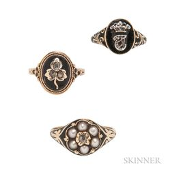 Three Antique Gold and Black Enamel Rings