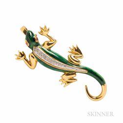 18kt Gold, Enamel, and Diamond Lizard Pendant/Brooch
