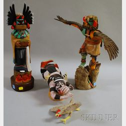 Three Carved Wooden Kachina Dolls and a Carved Wooden Bird Figure