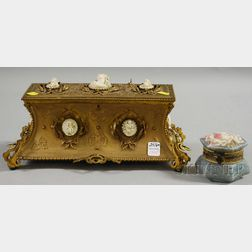 Gold-painted French-style Profile Medallion-mounted Metal Jewelry Casket and a   Small Painted Molded Glass Trinket Box
