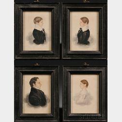 James Sanford Ellsworth (American, 1802/03-1874)      Portraits of Cyrus Blount of Boston and His Three Children.