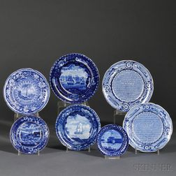 Seven Small Historical Blue Staffordshire Pottery Transfer-decorated Plates