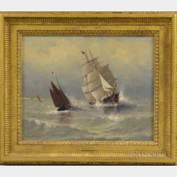 Marshall Johnson Jr. (American, 1850-1921)      Clipper Ship and Fishing Vessels at Sea