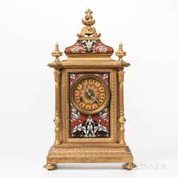 Tiffany & Co. Champleve Gilt-brass Mantel Clock