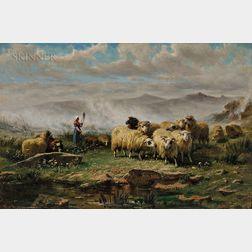August Friedrich Albrecht Schenck (Danish, 1828-1901)      Shepherdess and Flock in a Misty Meadow