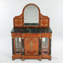 Empire-style Marble-top Mahogany, Burlwood-veneered, and Ormolu-mounted Commode with Mirror