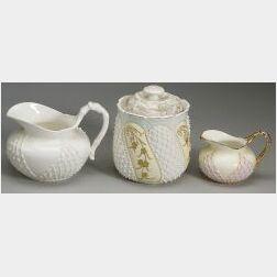 Three Lotus Ware Porcelain Items