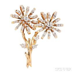18kt Gold and Diamond Flower Brooch