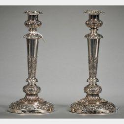 Pair of Matthew Boulton Sheffield Plate Candlesticks