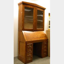 Country Glazed Birch and Birds-eye Maple Veneer Slant-lid Desk/Bookcase.