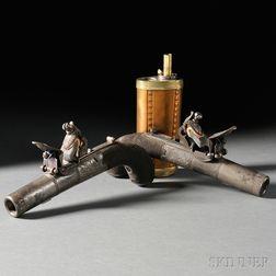 Pair of English Flintlock Pistols with Engraved Brass Powder Flask