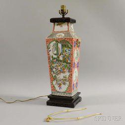 Famille Verte Vase Mounted as a Lamp