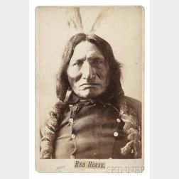"""Framed Cabinet Card Photograph of """"Red Horse"""" by D.F. Barry"""