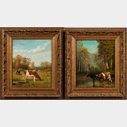 Clinton Loveridge (American, 1838-1915)    Two Works Depicting Cows in Landscapes: Grazing