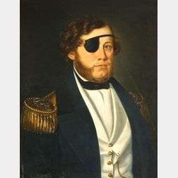 Anglo/American School, 19th Century  Portrait of a Naval Officer Wearing an Eye Patch.