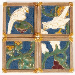 Four Grueby Pottery Tiles