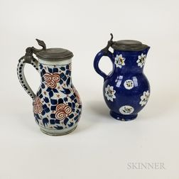 Two Pewter-mounted Polychrome Faience Tankards