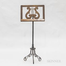 Wrought Iron and Oak Lyre-form Music Stand