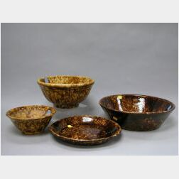 Three Bennington Glazed Pottery Bowls and a Pie Plate.