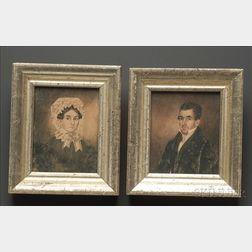 Pair of Portrait Miniatures of John and Sarah Burnehard
