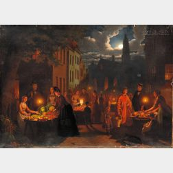 Johann Mongels Culverhouse (Dutch, 1820-1891)      Market Before Dawn