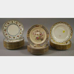 Three Sets of Decorated Porcelain Luncheon/Breakfast Plates