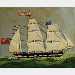Woolwork Portrait of an American Three-masted Sailing Ship and Two Small Folio   Lithographs