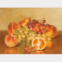Bryant Chapin (American, 1859-1927)      Tabletop Still Life with Orange, Grapes, and Peaches
