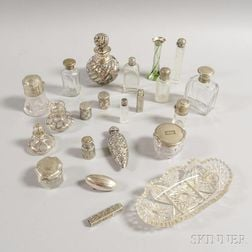 Group of Glass and Sterling Silver Vanity Items