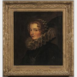 Continental School, 19th Century      Lady in a Ruff Collar and Pearl and Plumed Hat