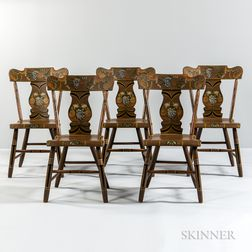 Set of Five Paint-decorated Dining Chairs