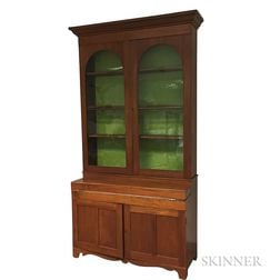 Country Glazed Walnut Desk/Bookcase