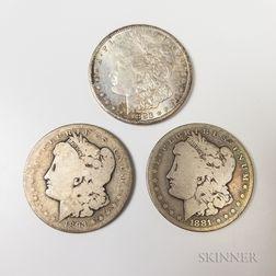 1881-CC, 1883-CC, and 1893-CC Morgan Dollars.     Estimate $200-400